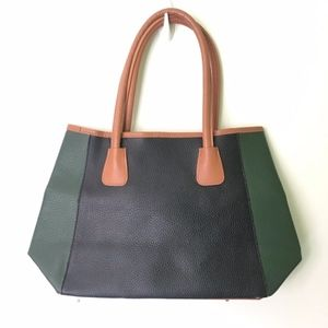 Neiman Marcus // Black, Green Faux Leather Tote